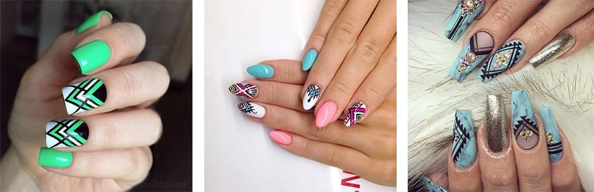 Unhas decoradas aztec nails exemplos