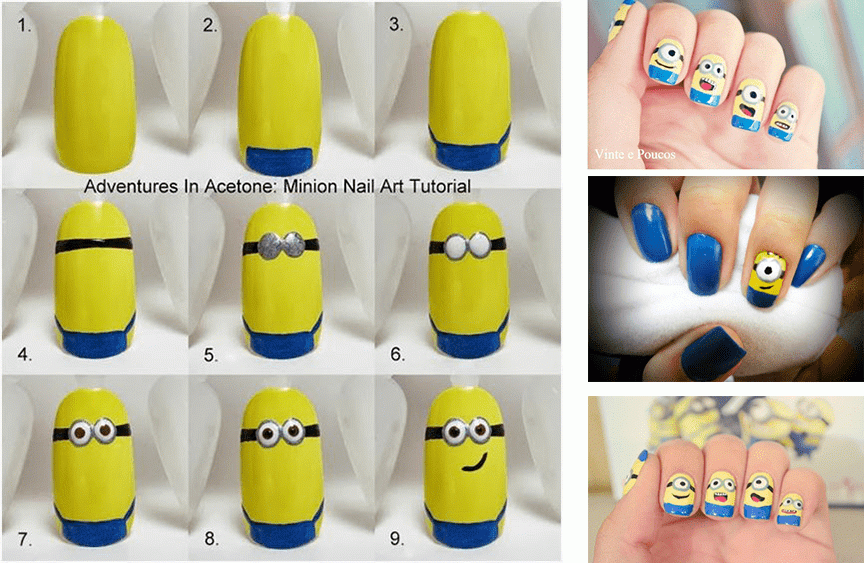 Unhas decoradas Minions tutorial