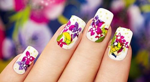 adesivos de unha flores coloridas