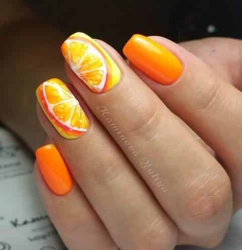 decoração de unhas artísticas laranja