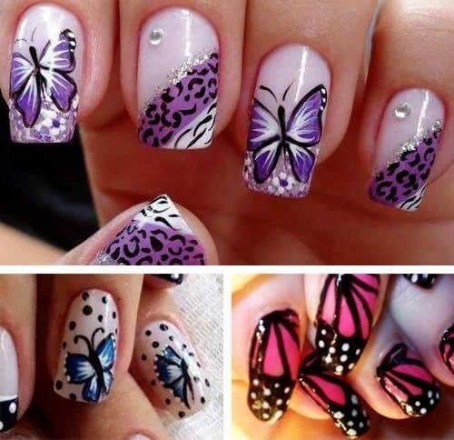 desenhos de unhas de borboleta