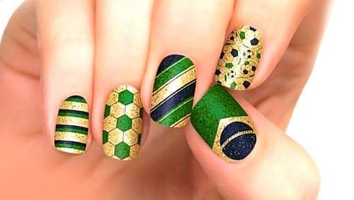 desenhos de unhas para a Copa do Mundo