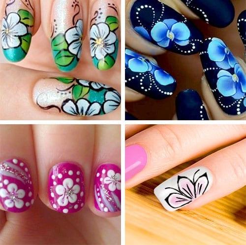 desenhos de unhas com flores