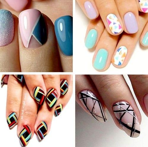 desenhos de unhas com formas geométricas