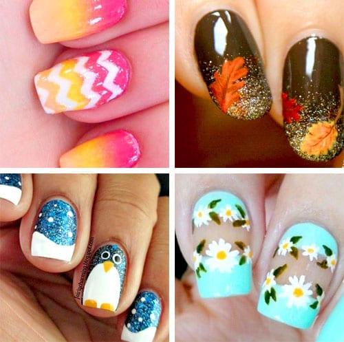 desenhos de unhas para verão, outono, inverno e primavera